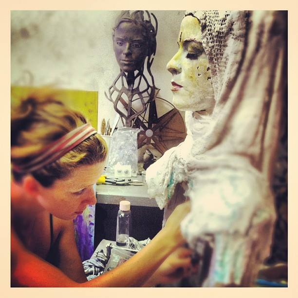 Maas working on a sculpture in her studio.  Photo by Nicholas Krolak.