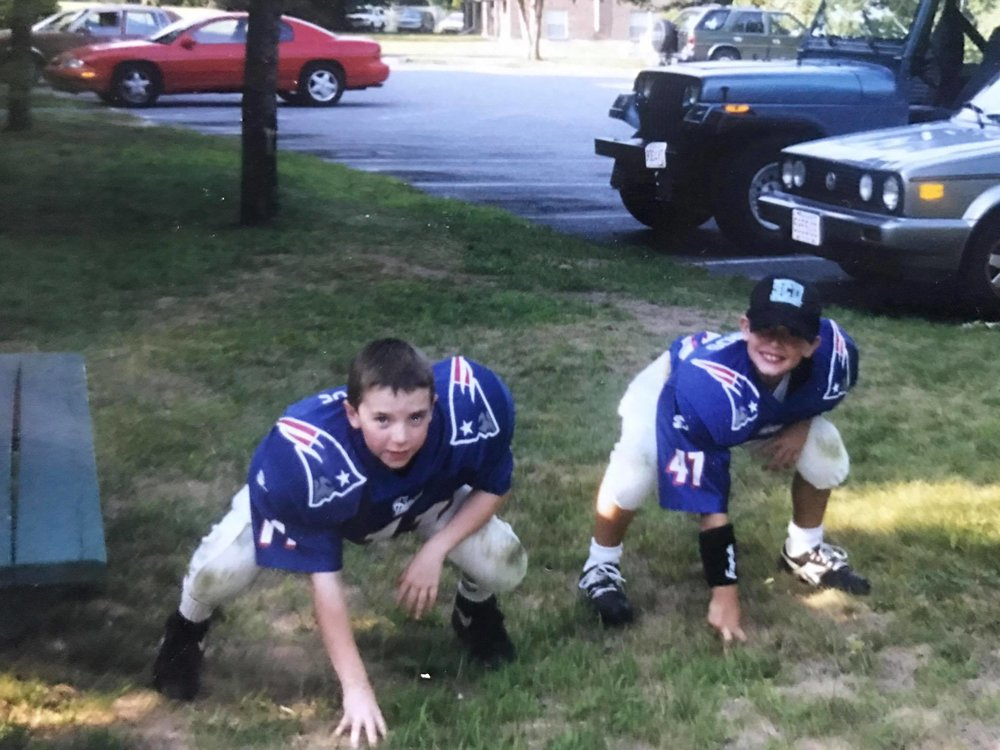 My friend Phil and I back in 1999 before Pop Warner practice. Phil, ironically, now works for the Atlanta Falcons.