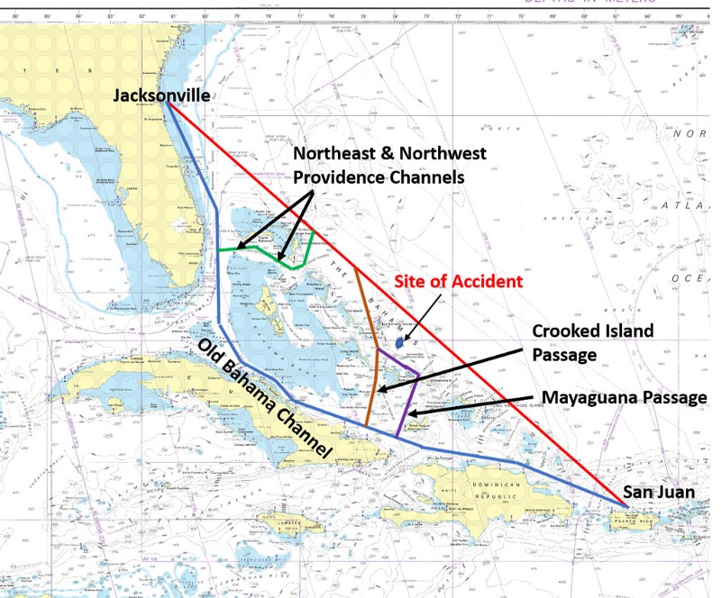 Other possible routes El Faro could have taken [Source: NTSB]