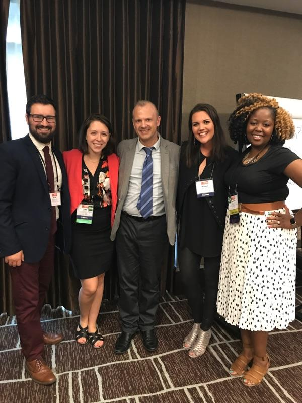 Left to Right: Kevin Peterson (Johnson Center), Tory Martin, Matthew Downey (Johnson Center), Bridget Clark Whitney (Kids' Food Basket) and Janean Couch (Grand Rapids Community Foundation). This photo, which was taken at the Emerging Practitioners in Philanthropy Conference, was shared with permission from Tory Martin.