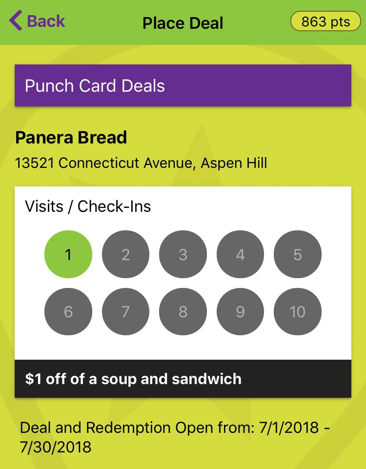 Place Tempo 10 Punch Card Deal