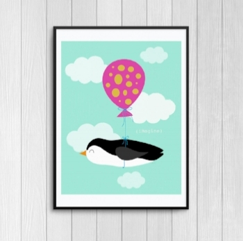 Framed Balloon Penguin