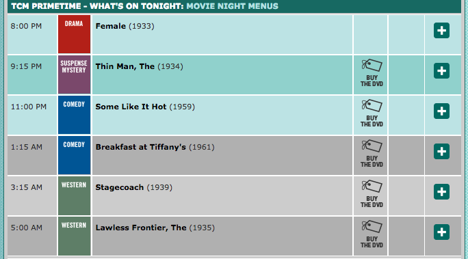 TCM Schedule for Movie Night Menus Jan 9