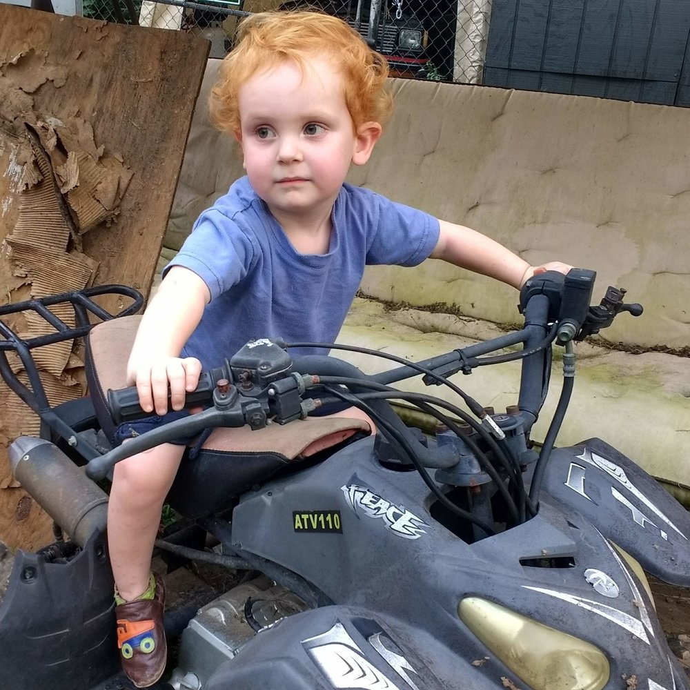 Click on the image for a current book proposal for  Ethics by Nature.  Yes that is my two year old mugging on a broken down four wheeler.