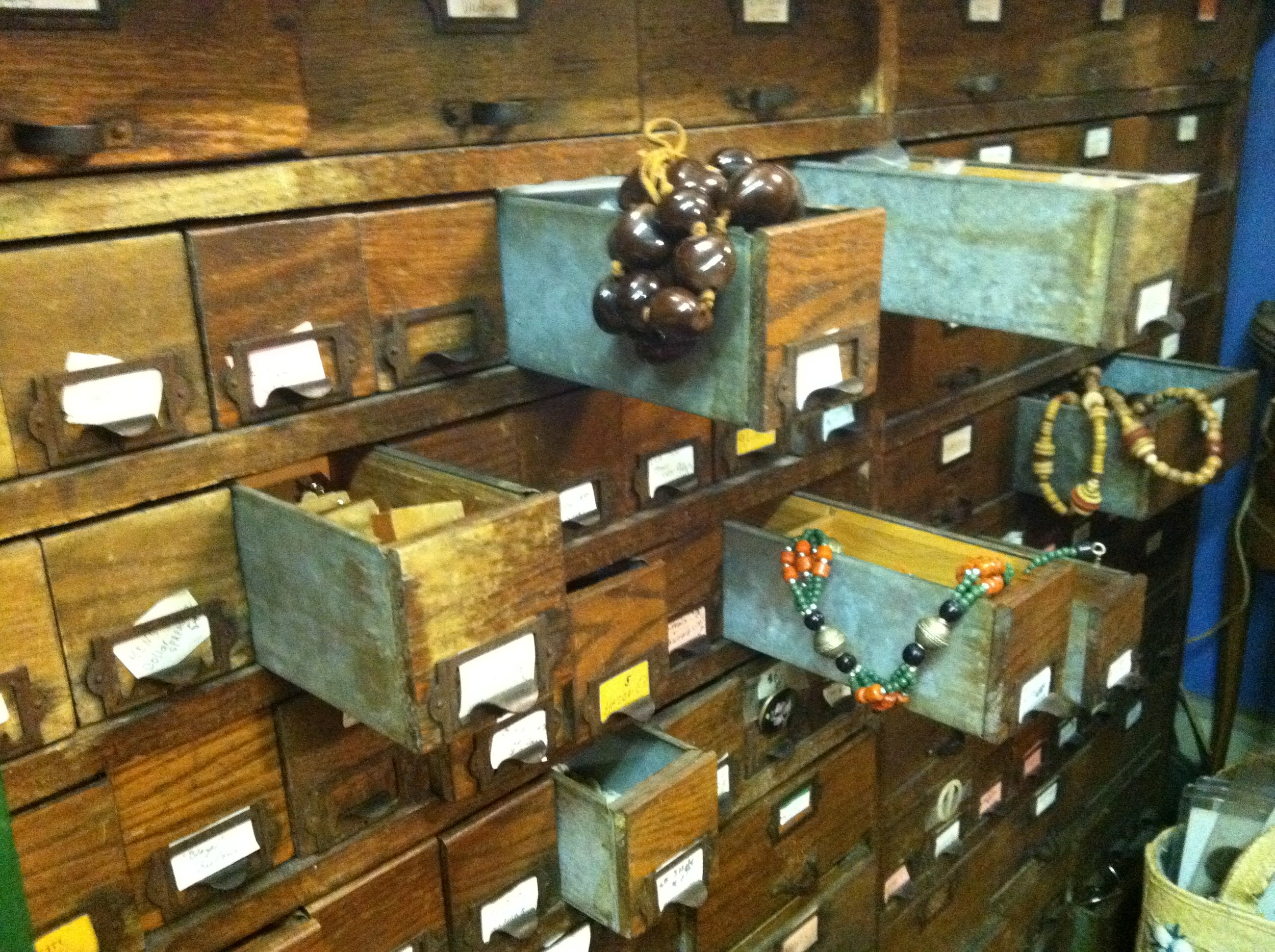 With overflowing filing cabinets and display cases lining the walls, Archangel Antiques is truly a one-stop shop for everything you've always wanted... and never knew existed. Photo by Robert Punchur.