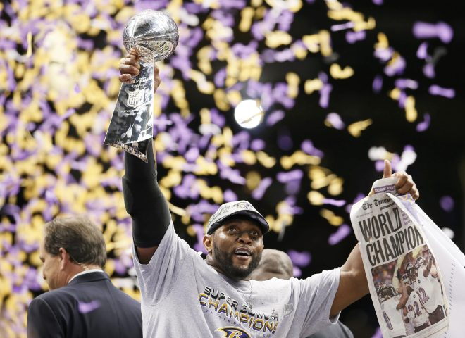 Baltimore Ravens linebacker Ray Lewis at the NFL Super Bowl XLVII. photo credit TIME sports