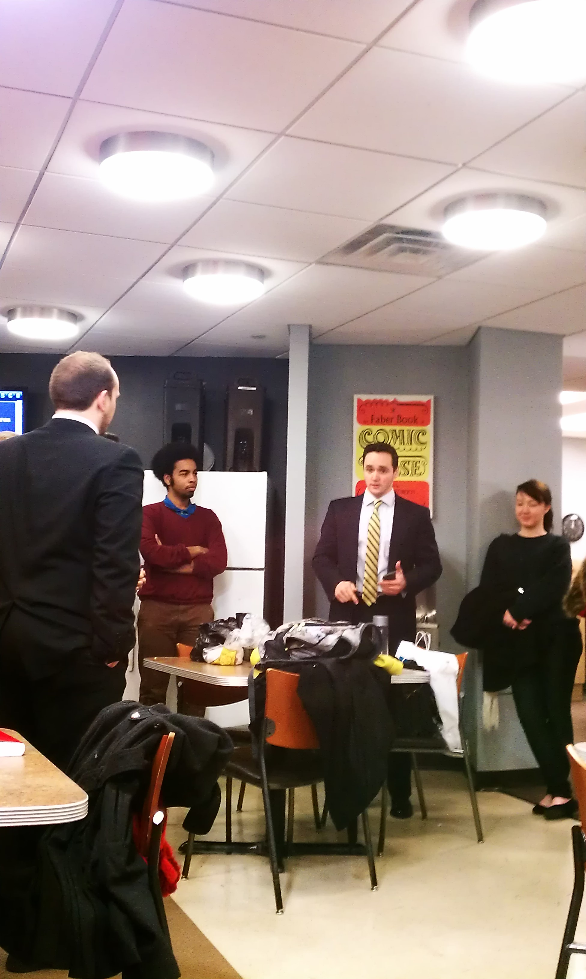 AJ announced his candidacy in Cafe 6 Feb. 14. Photo by Celina Durgin.