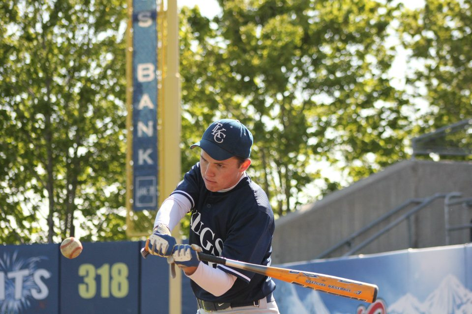 Jon Lile ('15) practices live batting at the final game last season. Photo by Kristen Lee.