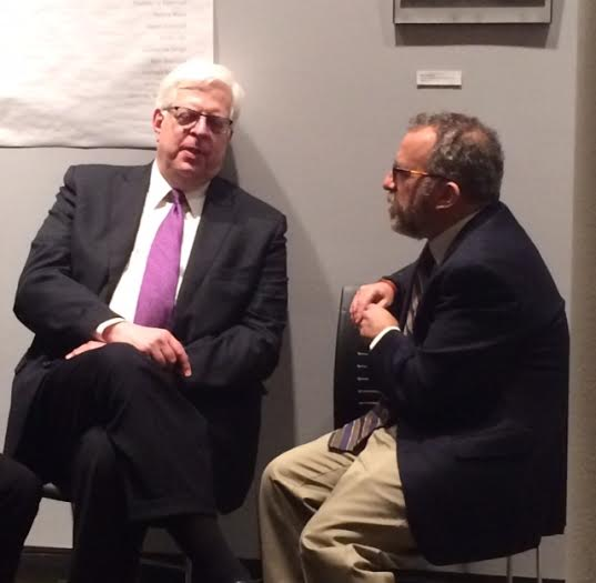 Associate Professor of Biblical Studies at King's, Dr. Noel Rabinowitz (right) visits with Prager (left) after the panel discussion Monday night. Photo by Megan Phelps.