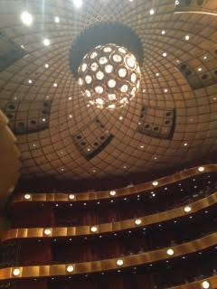 The inside and ceiling of the David H. Koch theater, located in Lincoln Square, where all of the NYCB's performances took place this season. Photo by Hannah Grubb.