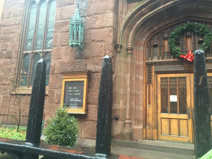 "A placard outside of First Presbyterian Church in Brooklyn Heights reads: ""Right now, Jesus is saying, 'I can't breathe.'"" Photo by Carly Hoilman."