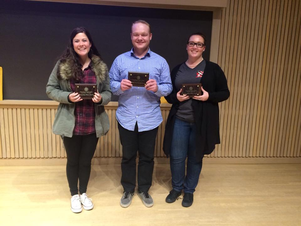 "From left to right: Jessica Matthews, Grant Olson and Katie Calvert each walked away from the fall tournament with an award. Matthews and Calvert received ""outstanding witness"" awards and Olson received an attorney award. Submitted photo."