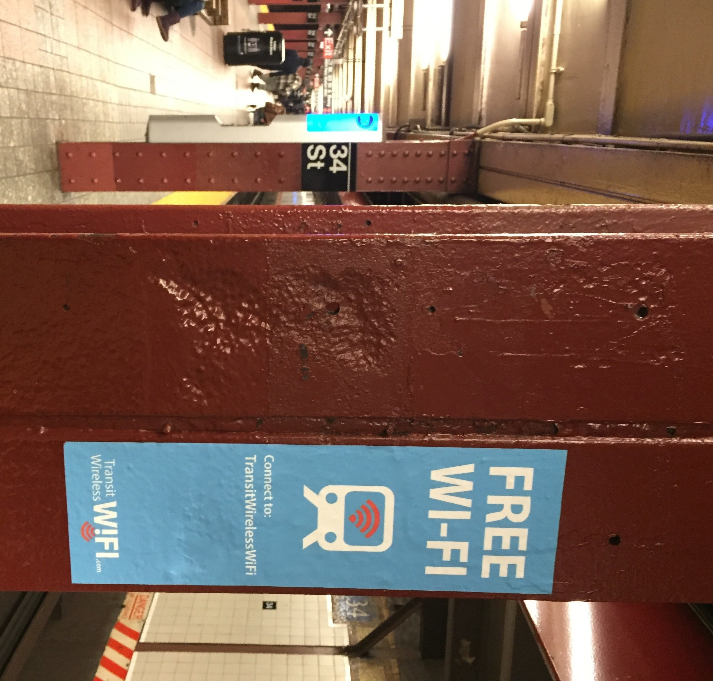 The MTA has added Wi-Fi connection to Herald Square-34th Street and other subway stations. Photo by Michael Martinez.