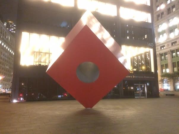The Red Cube at One Liberty Plaza. Photo by: Ben Gotchel