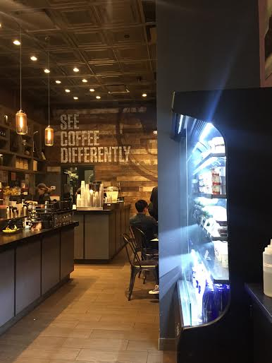 The inside of the Gregory's Coffee location at 42 Broadway. Photo by Hannah Stewart.