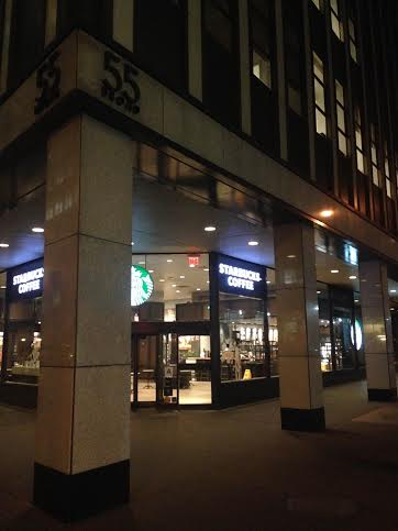 The Starbucks location at 55 Broad Street is one of the two Financial District locations seeking an alcohol license. Photo by Michael Sheetz.