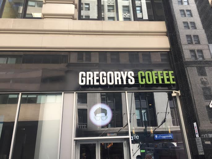 One Gregory's Coffee location is a few steps away from King's at 42 Broadway. Photo by Hannah Stewart.
