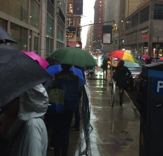 Hundreds lined up along Sixth Avenue, hoping to win a year's worth of free meals. Photo by Matthew Gorman.