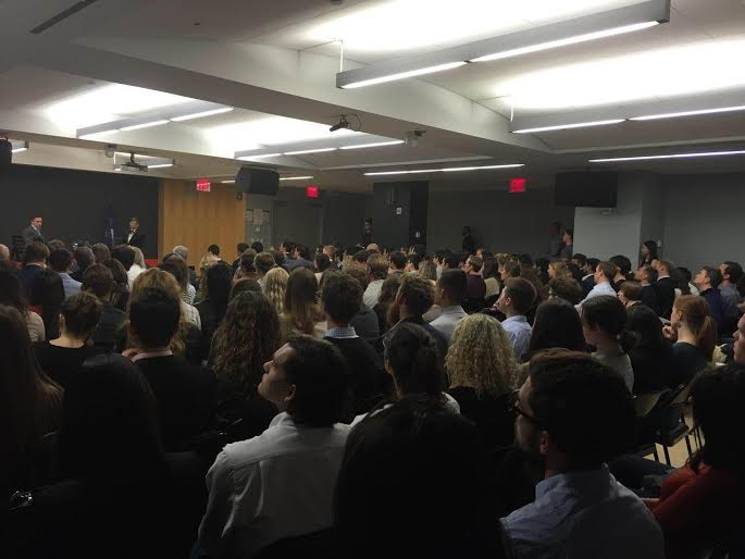 Thiel spoke to a full house of students, faculty, staff and others. Photo by Joy Gebert.