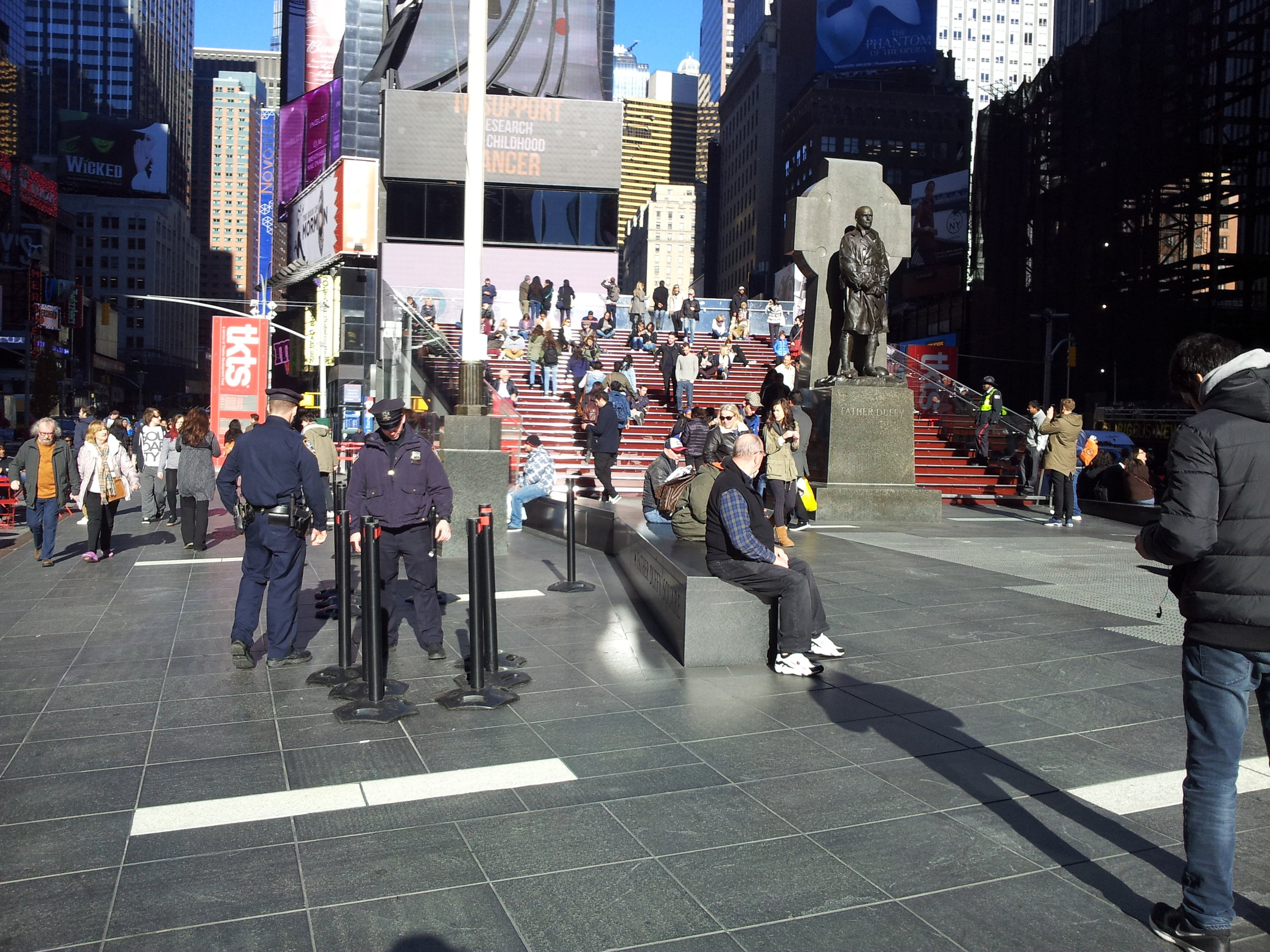 On the busiest days, over 460,000 pedestrians visit Times Square. Following the release of a threatening ISIS video, the NYPD increased security in the area. Photo by Davis Campbell.
