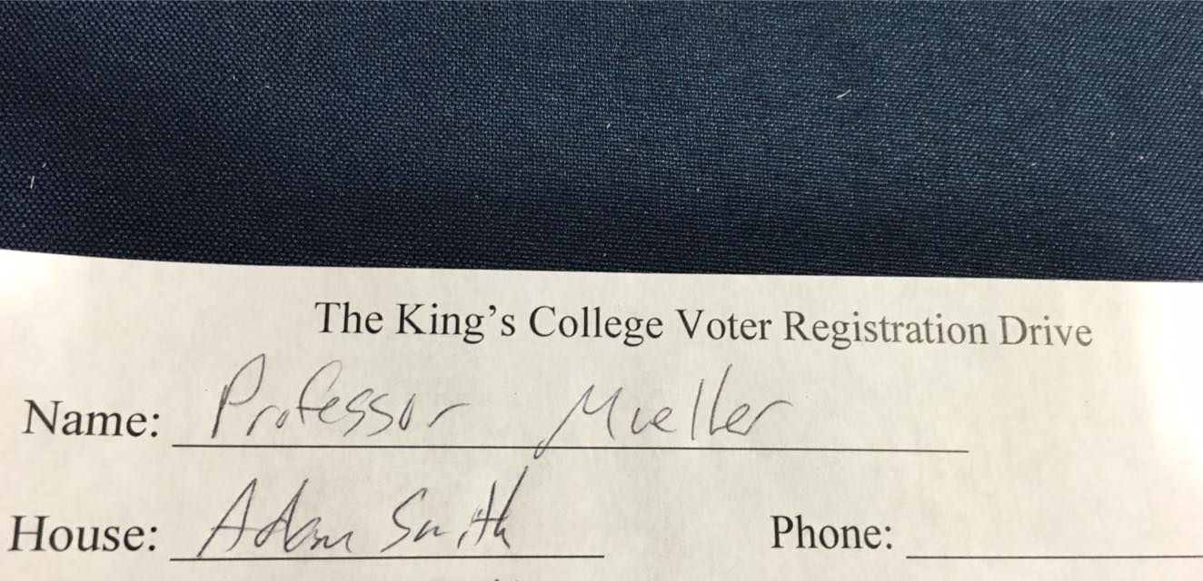 Economics professor and former Student Body President favorite Paul Mueller (who listed his House as 'Adam Smith') also continued setting a civic example by registering to vote in his home state of New Jersey.