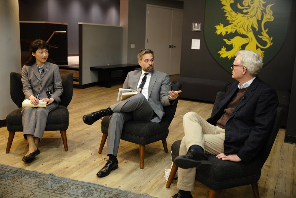 Ian Johnson sits down with Professors Glader and Park. Photo: Angel Boyd.