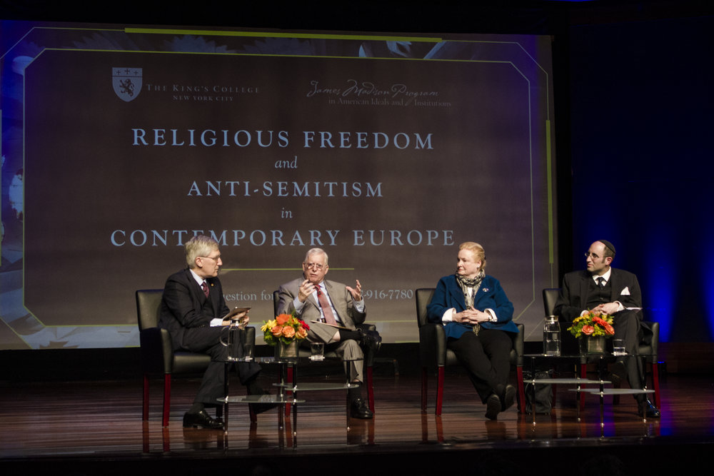 Left to Right: Robert P. George, J.D.,  PH. D., D.C.L. (host); Rabbi Dr. David G. Dalin; Professor Mary Ann Glendon; Rabbi Dr. Meir Y. Soloveichik | Photo by Bernadette Berdychowski