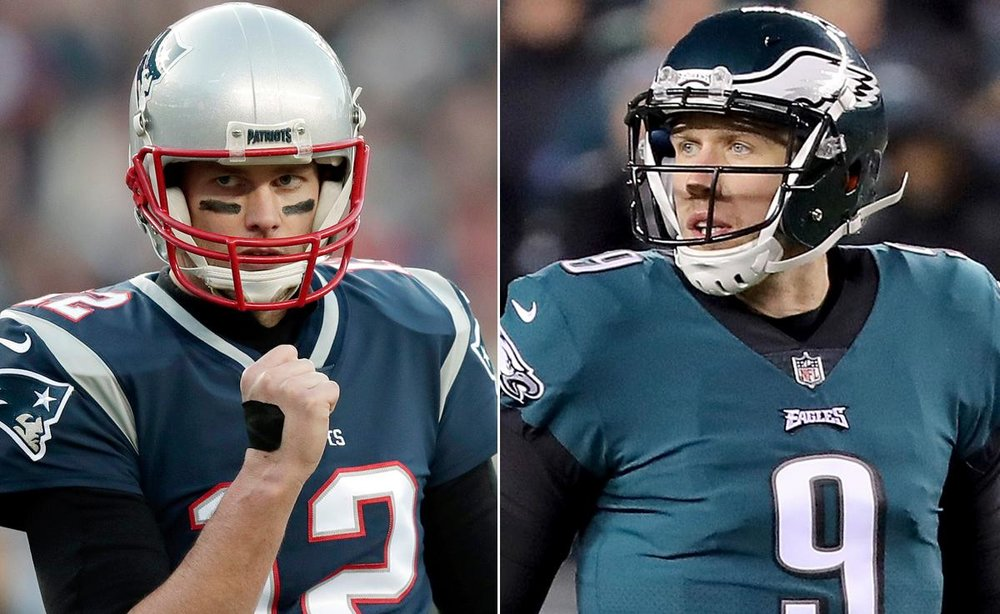 Tom Brady vs. Nick Foles | Photo from NY Daily News