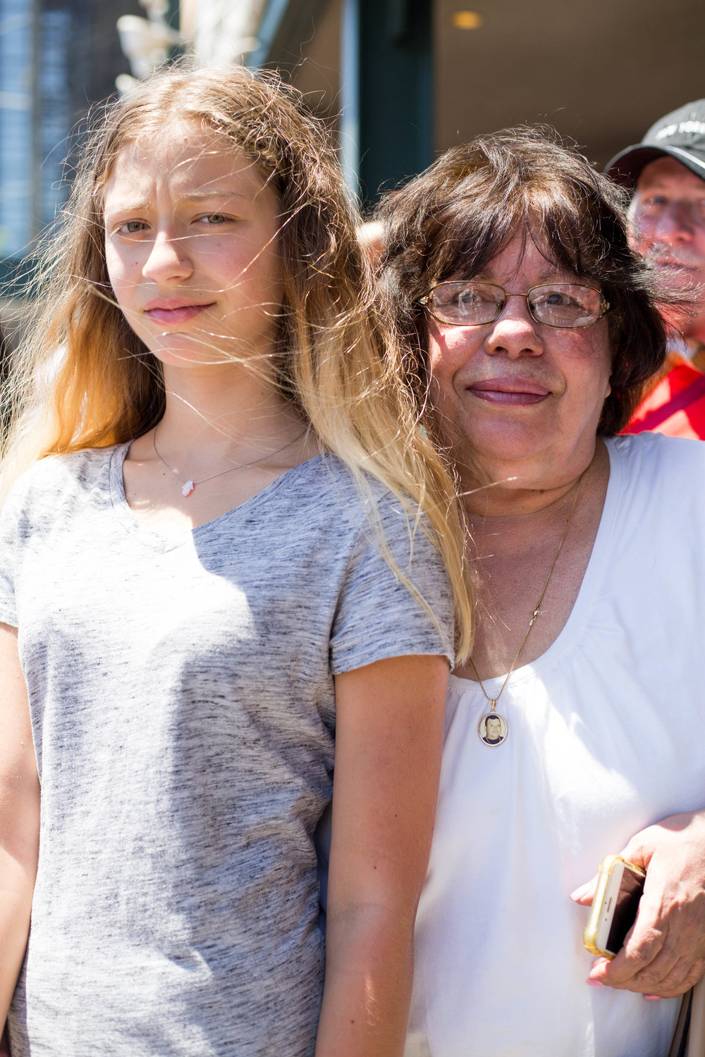 Angelina Marotta,13, (left) and her grandmother, Katherine Marotta, 70, attending the 36th anual Mermaid Day Parade, on June 16, in New York. Photo: Wes Parnell