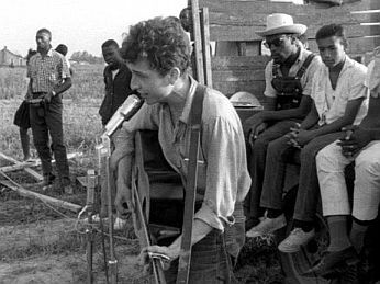 July 2, 1963: Bob Dylan at civil rights gathering in Greenwood, Mississippi singing 'Only a Pawn in Their Game.