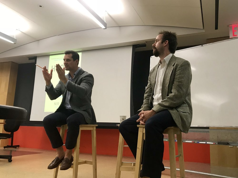 Professor Brenberg (left) and Professor Mueller (right) at the Off the Record Lecture || Picture Credits: Samantha Kelly