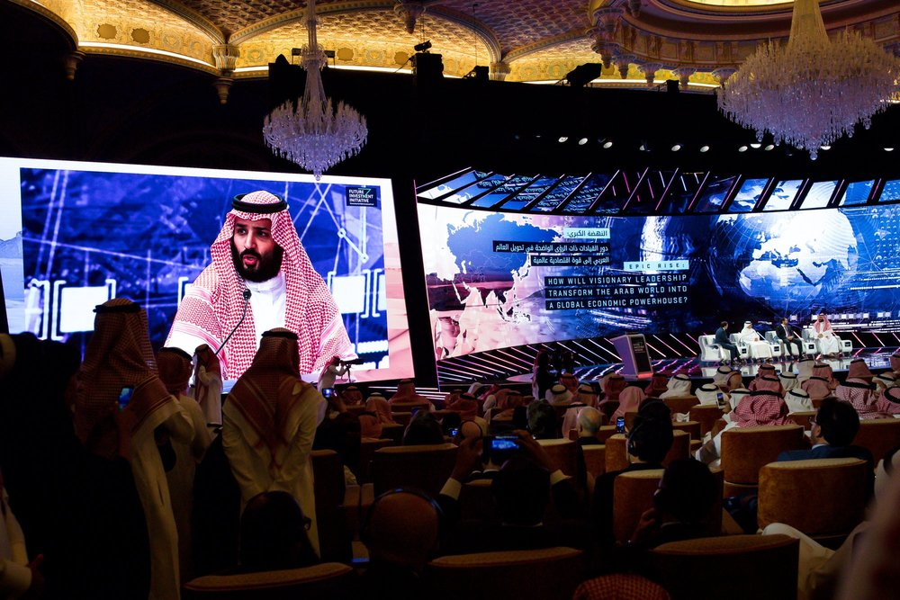 Mohammed bin Salman, Saudi Crown Prince, speaking at the investors conference. Photo Credit: Tasneem Alsultan for The New York Times.