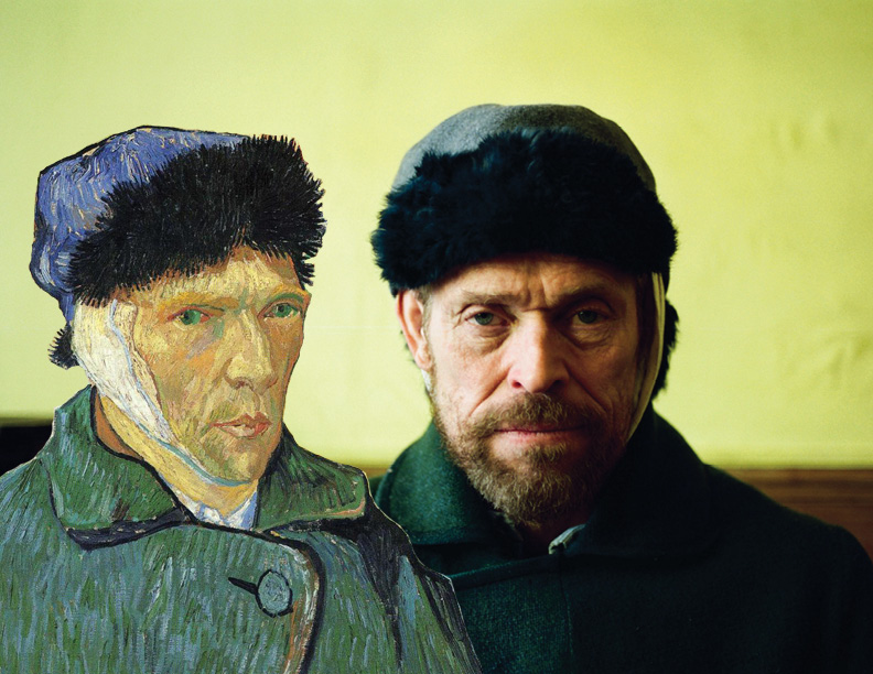 """Willem Dafoe as Vincent Van Gogh in """"At Eternity's Gate,"""" side by side with Van Gogh in Self Portrait with a Bandaged Ear, 1889. Graphic by Jillian Cheney. Original still credit to CBS Films."""