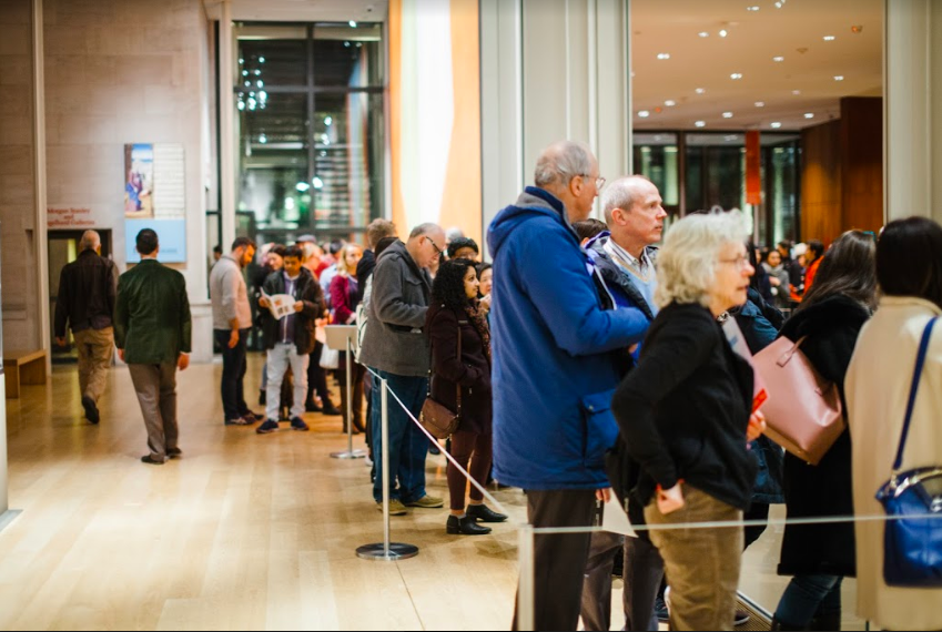 People wait in line at the Morgan Library. || Photo credit to Elissa Esher