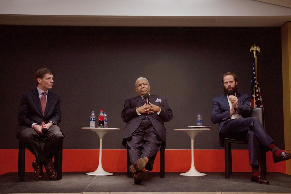 """Reverend Eugene Rivers, Dr. Paul Mueller, and Dr. David Tubbs at the """"Difficult Discussions"""" on Feb. 21, at The King's College. 