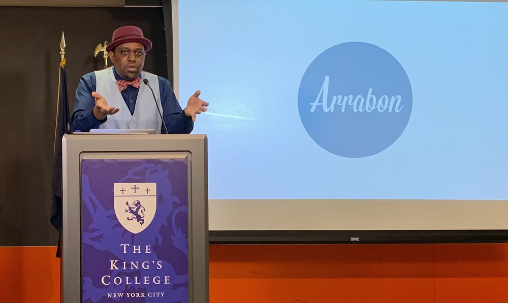 """David Bailey introduces the ministry Arrabon during his lecture """"Black History and Redefining the 'We' in 'We The People.'"""" 