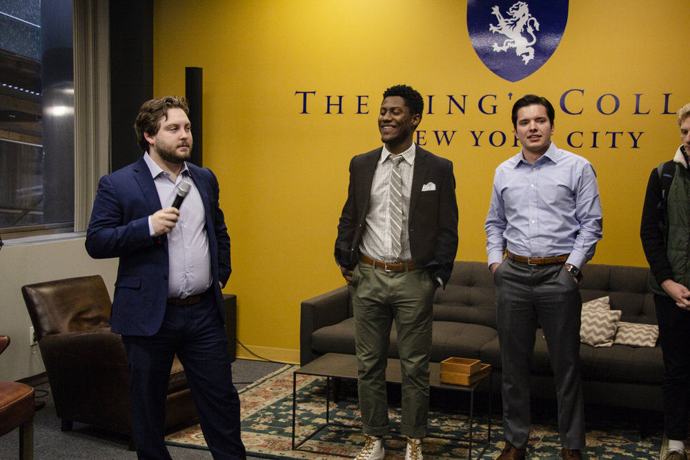 Brandon Smith announces Koby Jackson and Blake Ashley as run-off candidates in the college lobby. Jackson was announced as president of the student body two days later. || Photo credit to Bernadette Berdychowski.