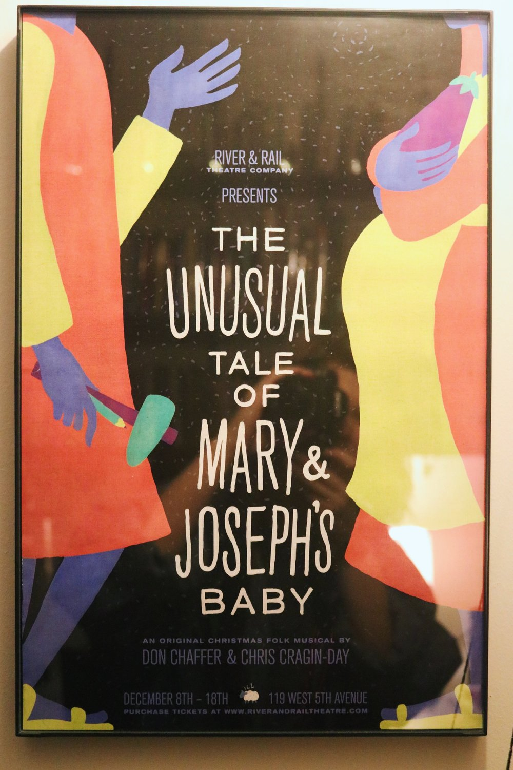 A poster of Don Chaffer and Cragin-Day's musical, The Unusual Tale is Mary & Joseph's Baby, hangs on the wall in her office. || Photo credit to Rachel Freeman