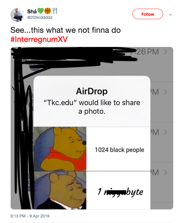 Sha Sanders tweeted out the photo that was airdropped to her friends, condemning the actions. (Crude words were covered by the EST)