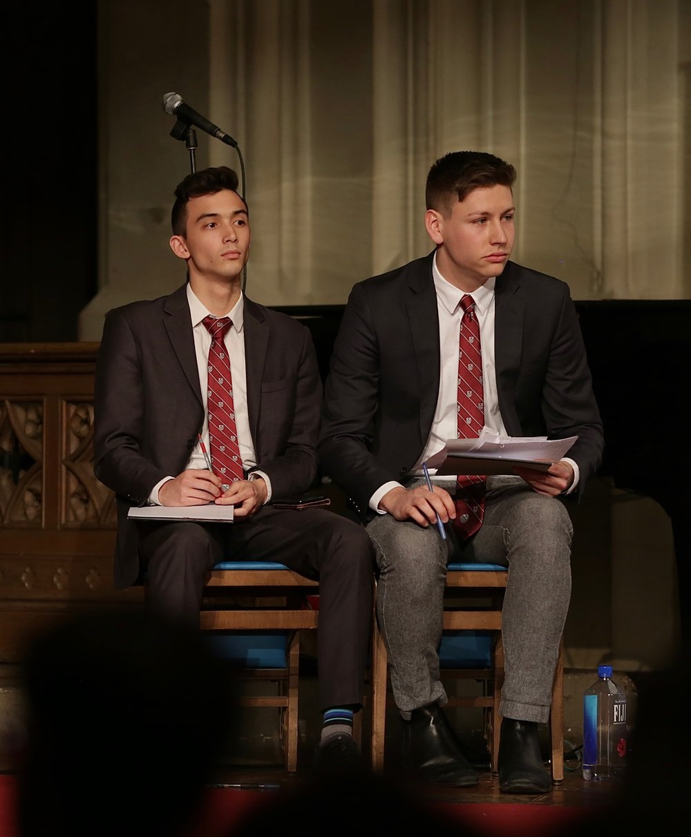 Kyle Kendrick and Jared Neikirk representing the House of C.S Lewis.    Photo Credit to Gabriela Kressley