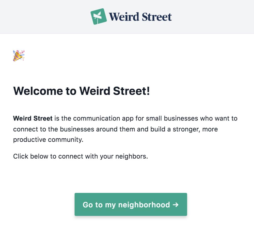 Weird Street invitation email
