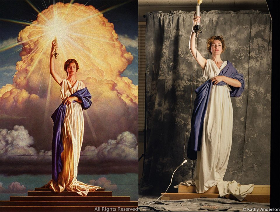 28-year-old Jenny Joseph posing for Columbia Pictures Logo, 1992