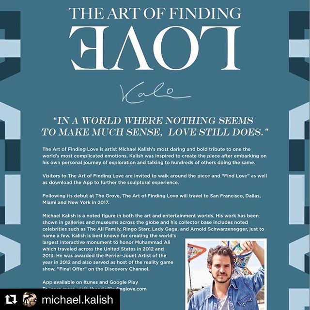 #Repost @michael.kalish  Tomorrow starting at 7pm the sculpture will be unveiled ・・・ Behind The Art of Finding Love. #KalishArt #TheGroveLa