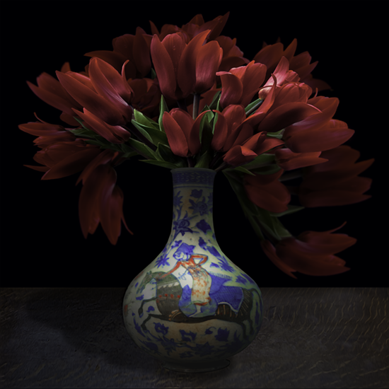 """Still life with red Tulips and a Turkish vase"", 2017 (Vase courtesy of the Royal Ontario Museum), 40""X40"", limited edition, archival pigment print. - Tulips first grew in the highlands of Turkey and Mongolia. Sixteenth century plant hunters brought them to Austria and Holland where they were hybridized to become the flowers we know and love today. The Turkish vase was photographed by TM Glass with permission from the Royal Ontario Museum. The tulip flowers came from the artist's garden."
