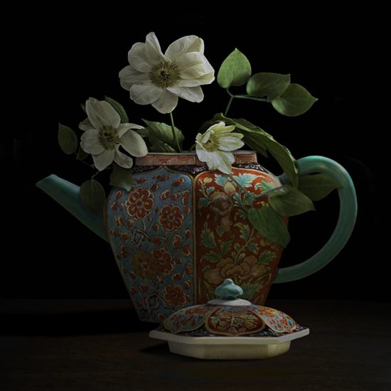 """Still life with white Clematis and a Chinese teapot"", 2017 (Vase courtesy of the Gardiner Ceramic Museum), 60""X60"", limited edition, archival pigment print. - The teapot was photographed by TM Glass with permission from the Gardiner Ceramic Museum. The clematis flowers came from the artist's garden."