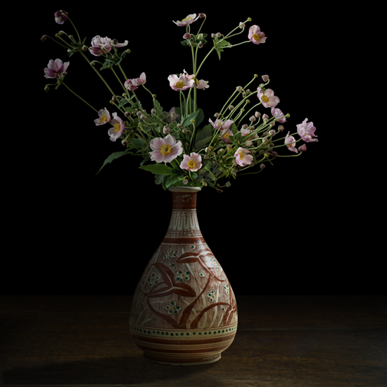 """Still life with pink Japanese Anemones in a Japanese vase, 2017 (Vase courtesy of the Gardiner Ceramic Museum), 60""X60"", limited edition, archival pigment print. - The vase was photographed by TM Glass with permission from the Gardiner Ceramic Museum. The anemone flowers came from the artist's garden."