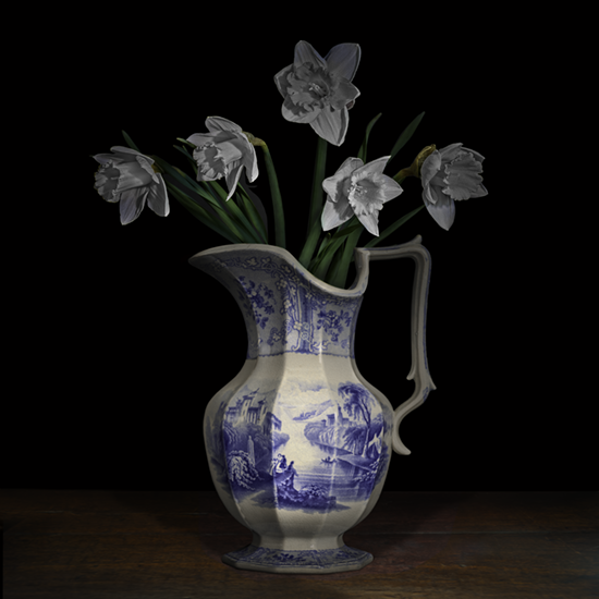 "Still life with white Mount Hood Narcissus in a Staffordshire jug"", 2017 (Vase courtesy of the Royal Ontario Museum), 40""X40"", limited edition, archival pigment print. - The Staffordshire pitcher was photographed by TM Glass with permission from the Royal Ontario Museum. The narcissus flowers came from the artist's garden."