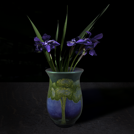 """Still life with Siberian Iris in a Roycroft vase"", 2017 (Vase courtesy of the Royal Ontario Museum), 40""X40"", limited edition, archival pigment print. - The Roycroft vase was photographed by TM Glass with permission from the Royal Ontario Museum. The Iris flowers come from the artist's garden."