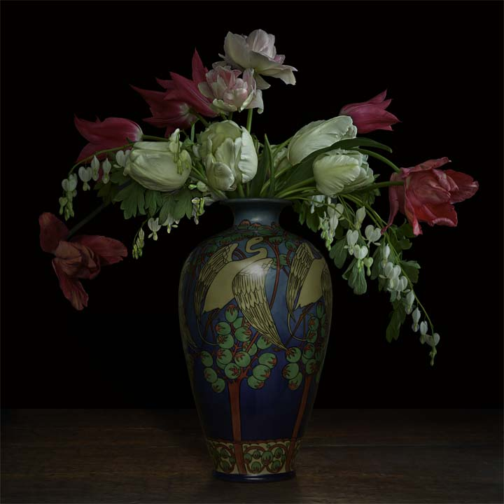 """Still life with Parrot Tulips and Bleeding Heart in a Japanese vase"", 2017 (Vase courtesy of the Gardiner Ceramic Museum), 60""X60"", limited edition, archival pigment print. - The Japanese vase was photographed with permission at the Gardener Ceramic Museum. The Parrot Tulips and Bleeding Heart flowers came from the artist's garden."
