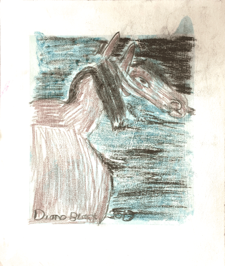 "Silver     Horse     with     Black      Mane      by     Diane     Black      2013     pastel on paper     9     1/2""    x    8"